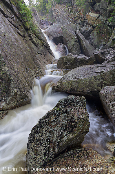 Just below Upper Georgiana Falls in Lincoln, New Hampshire USA during the spring months. These falls are located along Harvard Brook and are also referred to as Georgiana Falls and Harvard Falls.