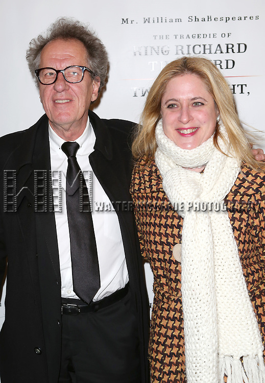 Geoffrey Rush and Lisa Lambert attend the Broadway Opening Night Performance of 'Twelfth Night' at the Belasco Theatre on November 10, 2013 in New York City.
