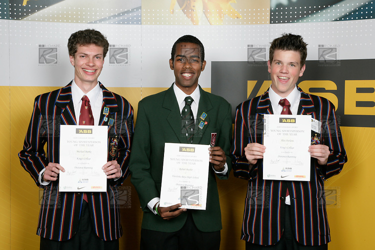Boys Distance Running finalists Michael Banks, Rabah Bashir & Alex Parlane. ASB College Sport Young Sportperson of the Year Awards 2007 held at Eden Park on November 15th, 2007.