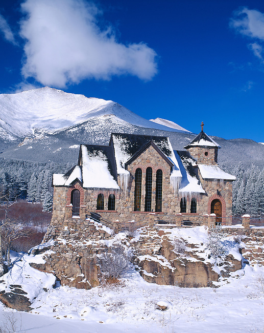 Snow covered St Catherines Chapel of Sienna at St Malo along the Peak to Peak Scenic Byway in the Rocky Mountains of Colorado