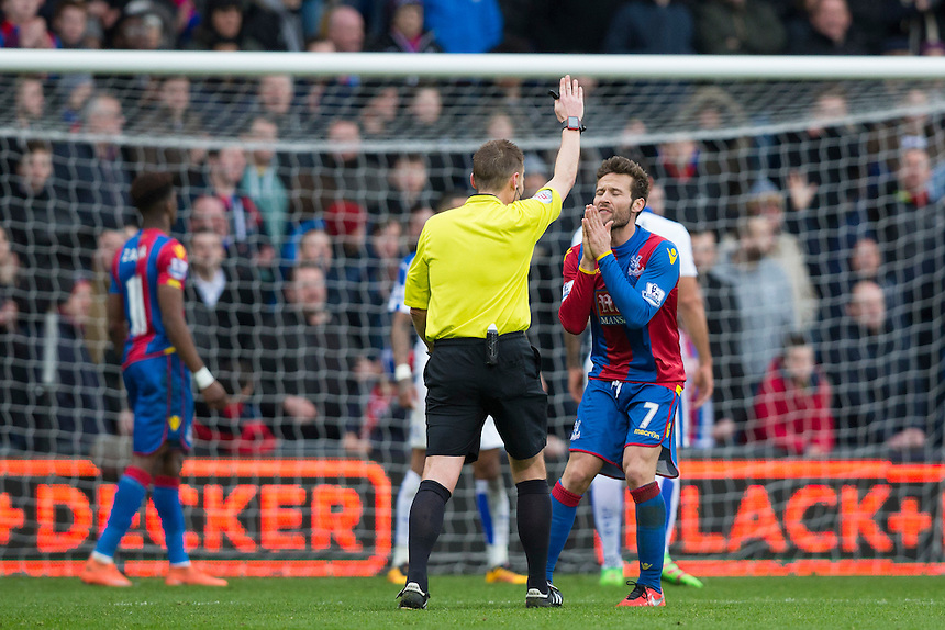 Crystal Palace's Yohan Cabaye reacts to a decision<br /> <br /> Photographer Craig Mercer/CameraSport<br /> <br /> Football - Barclays Premiership - Crystal Palace v Leicester City - Saturday 19th March 2016 - Selhurst Park - London<br /> <br /> &copy; CameraSport - 43 Linden Ave. Countesthorpe. Leicester. England. LE8 5PG - Tel: +44 (0) 116 277 4147 - admin@camerasport.com - www.camerasport.com