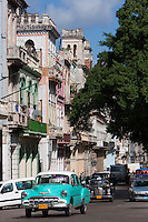 Cuba, Havana.  Moorish Architecture on the Prado, 1952 Chevrolet in Foreground.