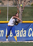 Wildcats outfielder Pamela Sakuma makes a play against Colorado Northwestern at Edmonds Sports Complex Carson City, Nev., on Friday, April 17, 2015.<br /> Photo by Cathleen Allison