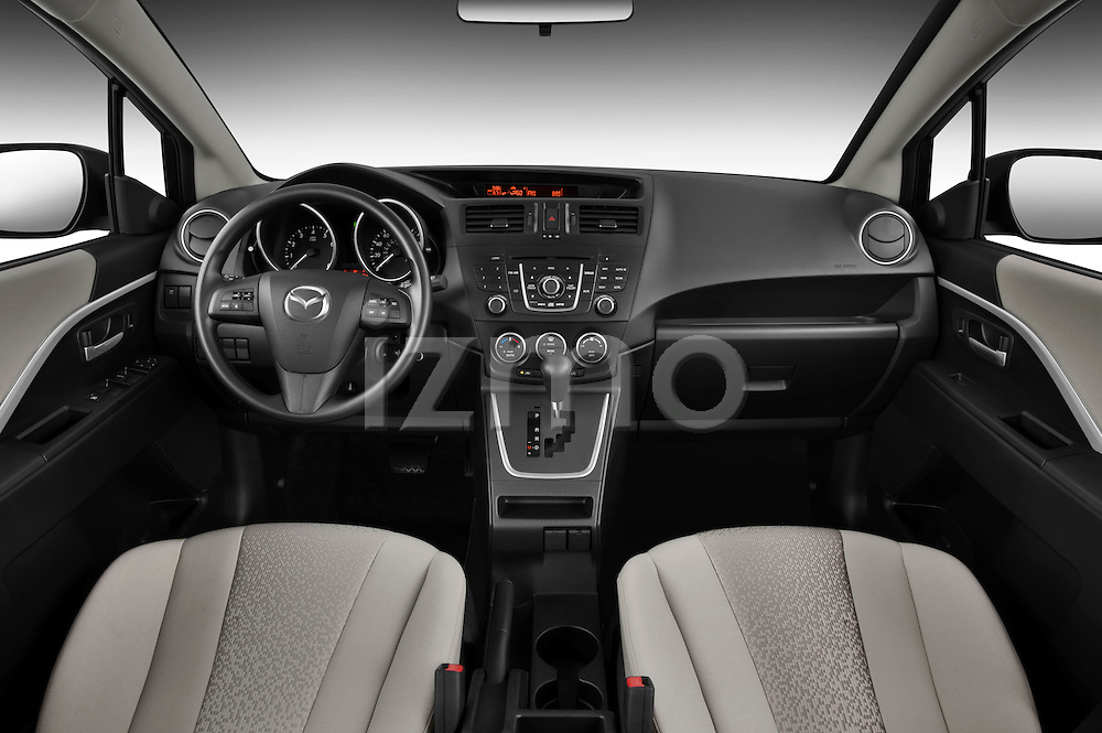 Straight dashboard view of a 2012 Mazda Mazda5.