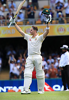 Steve Smith (Australia) celebrates scoring a 100 runs in the first innings - Photo SMPIMAGES.COM / newscorpaustralia.com - Action from the 1st Test of the 2017 / 2018 Magellan Ashes Cricket series between Australia v England played at the Gabba, Brisbane Australia. MANDATORY CREDIT/BYLINE : SWpix.com/PhotosportNZ