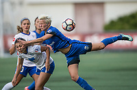 Seattle, WA - Saturday July 15, 2017: Brooke Elby, Megan Rapinoe during a regular season National Women's Soccer League (NWSL) match between the Seattle Reign FC and the Boston Breakers at Memorial Stadium.
