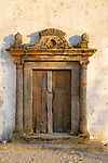 Old doorway in the medieval village of Marvão, Portalegre district, Alto Alentejo, Portugal, Southern Europe