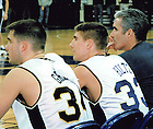 John Hiltz playing for the Notre Dame Men's Basketball team, 1999-2000.<br /> <br /> Photo provided by Dan Hiltz