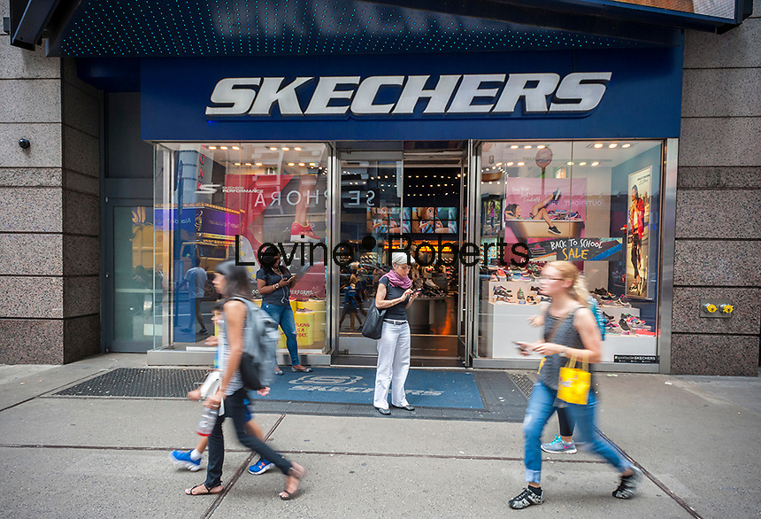 A Skechers store in Times Square in New York on Friday, August 5, 2016. Skechers stock hit a 52 week low after its second quarter missed analysts' expectations.   (© Richard B. Levine)