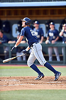 Pittsburgh Panthers first baseman Nick Banman (29) swings at a pitch during a game against the North Carolina Tar Heels at Boshamer Stadium on March 17, 2018 in Chapel Hill, North Carolina. The Tar Heels defeated the Panthers 4-0. (Tony Farlow/Four Seam Images)