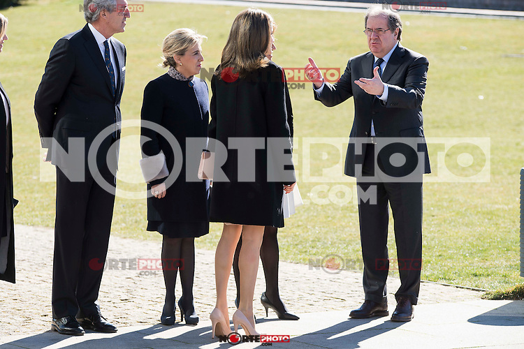 """Queen Letizia and Juan Vicente Herrera arrives to the closing of International Congress """"Woman and Disability"""" at congress center """"Lienzo Norte"""" in Avila, Spain. March 01, 2017. (ALTERPHOTOS/BorjaB.Hojas)"""