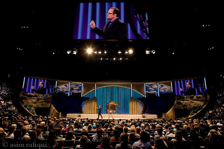The high tech altar of the Lakewood Church<br />