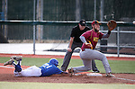 Western Nevada's Blake Morin dives safely back to first ahead of Arizona Western's Austin Maltby's tag during the WNC home opener in Carson City, Nev. on Friday, Feb. 12, 2016. AWC won 9-5. <br /> Photo by Cathleen Allison/Nevada Photo Source