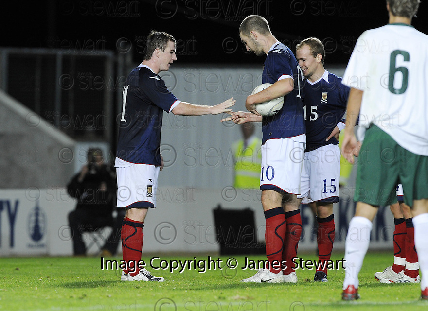 "04/09/2008  Copyright Pic: James Stewart.File Name : sct_jspa13_scotland_v_slovenia.ROSS MCCORMACK AND CHARLES MULGREW DECIDES WHO IS TO TAKE THE PENALTY BY ""ROCK PAPER SCISSORS"".James Stewart Photo Agency 19 Carronlea Drive, Falkirk. FK2 8DN      Vat Reg No. 607 6932 25.James Stewart Photo Agency 19 Carronlea Drive, Falkirk. FK2 8DN      Vat Reg No. 607 6932 25.Studio      : +44 (0)1324 611191 .Mobile      : +44 (0)7721 416997.E-mail  :  jim@jspa.co.uk.If you require further information then contact Jim Stewart on any of the numbers above........"
