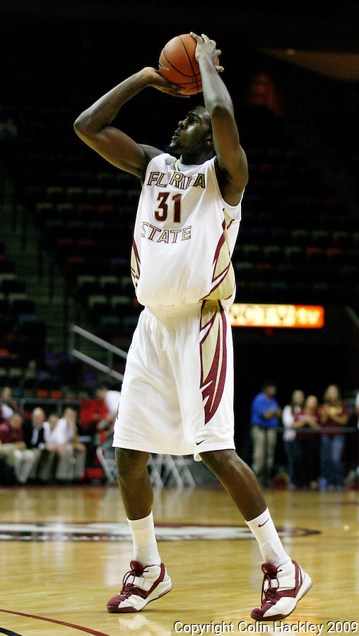 TALLAHASSEE, FL 11/3/09-FSU-DELTA BB09 CH12-Florida State's Chris Singleton shoots against Delta State's during first half action Tuesday at the Tallahassee-Leon County Civic Center. The Seminoles beat the Statesmen 81-38 in their first exhibition game of the season...COLIN HACKLEY PHOTO