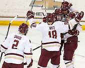 Scott Savage (BC - 2), Colin White (BC - 18), JD Dudek (BC - 15), David Cotton (BC - 17), Austin Cangelosi (BC - 9) - The Boston College Eagles defeated the University of Vermont Catamounts 7-4 on Saturday, March 11, 2017, at Kelley Rink to sweep their Hockey East quarterfinal series.The Boston College Eagles defeated the University of Vermont Catamounts 7-4 on Saturday, March 11, 2017, at Kelley Rink to sweep their Hockey East quarterfinal series.