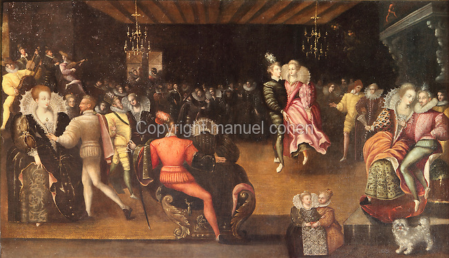 Painting of a ball, showing couples dancing on rush matting, from Chateau d'Azay-le-Rideau, 16th century Renaissance chateau, Loire Valley, Inde-et-Loire, France. This is an anonymous, late 16th century painting and is conserved at the Musee du Chateau Royal de Blois. Picture by Manuel Cohen