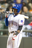 Round Rock Express shortstop Jurickson Profar #10 on deck against the Omaha Storm Chasers in the Pacific Coast League baseball game on April 4, 2013 at the Dell Diamond in Round Rock, Texas. Round Rock defeated Omaha in their season opener 3-1. (Andrew Woolley/Four Seam Images).