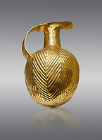 Bronze Age Hattian gold flask from a possible Bronze Age Royal grave (2500 BC to 2250 BC) - Alacahoyuk - Museum of Anatolian Civilisations, Ankara, Turkey. Against a gray background
