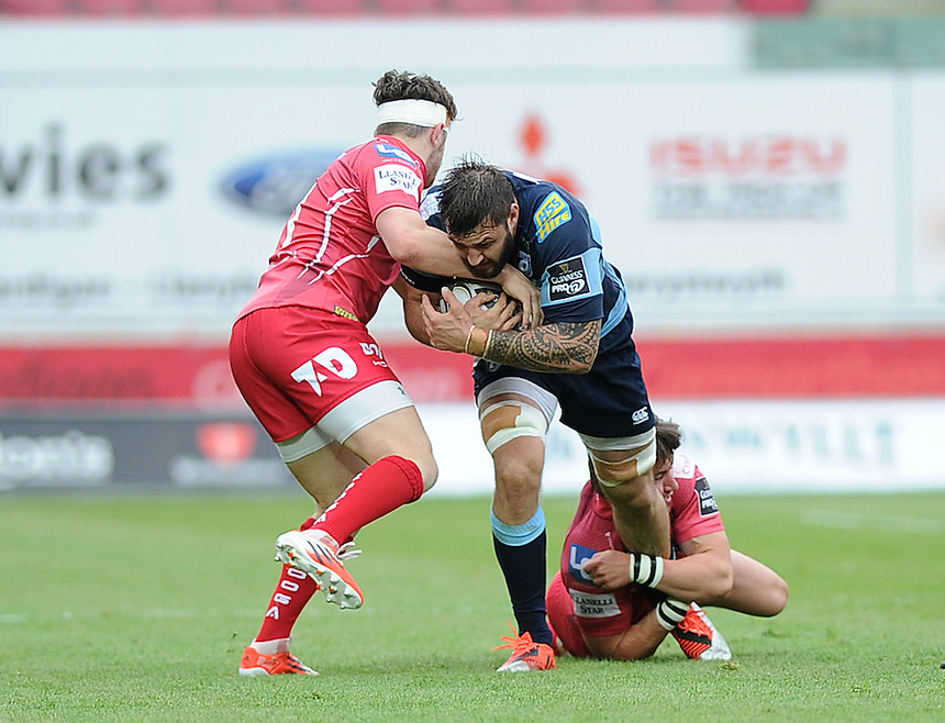 Cardiff Blues' Josh Turnbull is tackled by Scarlets' Rhodri Williams<br /> <br /> Photographer Ashley Crowden/CameraSport<br /> <br /> Rugby Union - Guinness PRO12 - Scarlets v Cardiff Blues - Sunday 10th May 2015 - Parc y Scarlets - Llanelli<br /> <br /> &copy; CameraSport - 43 Linden Ave. Countesthorpe. Leicester. England. LE8 5PG - Tel: +44 (0) 116 277 4147 - admin@camerasport.com - www.camerasport.com
