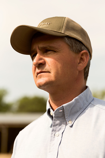 April 20, 2016. Rowland, North Carolina. <br />  Bo Stone, age 44, runs a 2300 acre farm near the South Carolina border. After 5 generations of tobacco farming, Stone helped to move his family farm over to corn, wheat, soybeans, and strawberries 7 years ago. <br />  While his corn crop is entirely made up of stacked genetically modified strains of corn, Stone says he chose the varieties primarily for their yield characteristics, but having the ability to utilize their herbicide tolerant traits if a weed gets out of control is &quot;another tool in my toolbox&quot;.