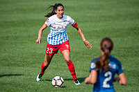 Kansas City, MO - Saturday September 9, 2017: Christen Press during a regular season National Women's Soccer League (NWSL) match between FC Kansas City and the Chicago Red Stars at Children's Mercy Victory Field.