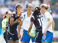 LA Sol players Shannon Boxx (blue-l), Marta (blue-r) and Boston Breakers Angela Hucles (white-l) and Kristine Lilly (white-r) have a conversation. The Boston Breakers and LA Sol played to a 0-0 draw at Home Depot Center stadium in Carson, California on Sunday May 10, 2009.   .