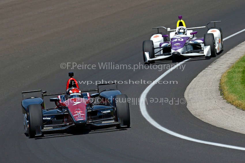 Verizon IndyCar Series<br /> Indianapolis 500 Carb Day<br /> Indianapolis Motor Speedway, Indianapolis, IN USA<br /> Friday 26 May 2017<br /> Mikhail Aleshin, Schmidt Peterson Motorsports Honda, Zach Veach, A.J. Foyt Enterprises Chevrolet<br /> World Copyright: F. Peirce Williams