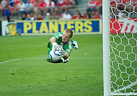 07 August 2010: Toronto FC goalkeeper Stefan Frei #24 makes a diving save during a game between Chivas USA and Toronto FC at BMO Field in Toronto..Toronto FC won 2-1.