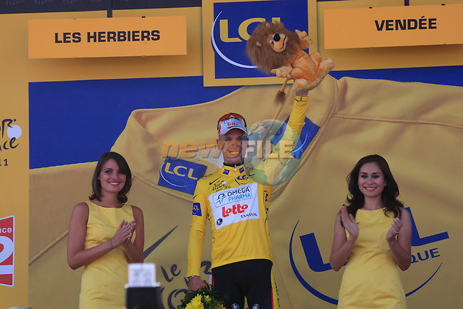 Philippe Gilbert (BEL) Omega Pharma-Lotto wears the Yellow Jersey after winning the 1st stage of the 2011 Tour de France from Passage du Gois to Mont des Alouettes , 2nd July 2011 (Photo by Eoin Clarke/NEWSFILE)