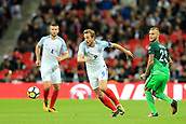 5th October 2017, Wembley Stadium, London, England; FIFA World Cup Qualification, England versus Slovenia; Harry Kane, the England captain  takes on Aljaz Struna of Slovenia