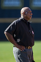Third base umpire David McKinney during the NCAA baseball game between the Kennesaw State Owls and the Winthrop Eagles at the Winthrop Ballpark on March 15, 2015 in Rock Hill, South Carolina.  The Eagles defeated the Owls 11-4.  (Brian Westerholt/Four Seam Images)