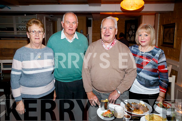 Kevin and Mary McGreevy, Cahersiveen, who celebrated their 46th Wedding Anniversary in the Brogue Inn on Saturday night last, also pictured were Kathleen and John Raggett, Tralee.