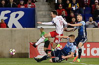 Harrison, NJ - Wednesday Feb. 22, 2017: Sacha Kljestan, Tim Parker, Jordan Harvey during a Scotiabank CONCACAF Champions League quarterfinal match between the New York Red Bulls and the Vancouver Whitecaps FC at Red Bull Arena.