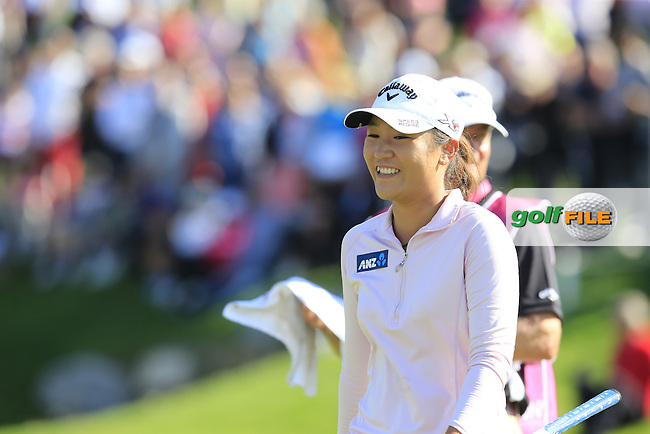 Lydia Ko (NZL) walks onto the 18th green with a 6 shot lead during Sunday's Final Round of the LPGA 2015 Evian Championship, held at the Evian Resort Golf Club, Evian les Bains, France. 13th September 2015.<br /> Picture Eoin Clarke | Golffile