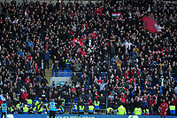Fans of Bristol City celebrate at full time during the Sky Bet Championship match between Cardiff City and Bristol City at the Cardiff City Stadium in Cardiff, Wales, UK. Sunday 10 November 2019