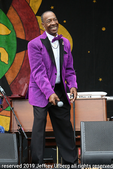 May 3, 2019 New Orleans, La: The Batiste Brothers perform at the 50th Anniversary of the New Orleans Jazz & Heritage Festival on May 3, 2019 in New Orleans, La