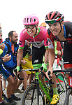 Michael Woods (CAN) EF-Drapac-Cannondale and Dylan Teuns (BEL) BMC Racing Team on the final climb of Stage 17 of the La Vuelta 2018, running 157km from Getxo to Balc&oacute;n de Bizkaia, Spain. 12th September 2018.                   <br /> Picture: Colin Flockton | Cyclefile<br /> <br /> <br /> All photos usage must carry mandatory copyright credit (&copy; Cyclefile | Colin Flockton)