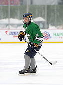 Notre Dame Fighting Irish of Batavia defensemen Bryan Moscicki (22) during a varsity ice hockey game against the Brockport Blue Devils during the Section V Rivalry portion of the Frozen Frontier outdoor hockey event at Frontier Field on December 22, 2013 in Rochester, New York.  (Copyright Mike Janes Photography)