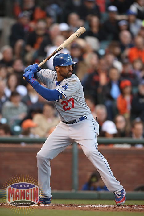 SAN FRANCISCO, CA - MAY 4:  Matt Kemp #27 of the Los Angeles Dodgers bats against the San Francisco Giants during the game at AT&T Park on Saturday, May 4, 2013 in San Francisco, California. Photo by Brad Mangin