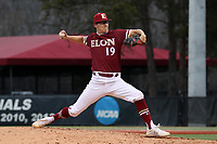 ELON, NC - FEBRUARY 28: Kyle Greenler #19 of Elon University throws a pitch during a game between Indiana State and Elon at Walter C. Latham Park on February 28, 2020 in Elon, North Carolina.