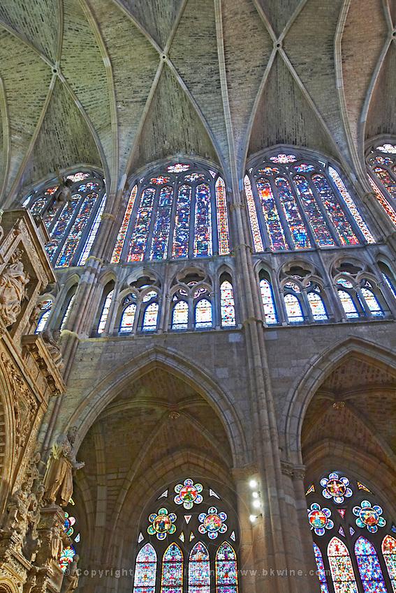 stained glass windows  cathedral santa maria de regla , Leon spain castile and leon