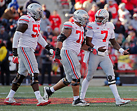 Ohio State Buckeyes quarterback Dwayne Haskins Jr. (7) talks to Ohio State Buckeyes offensive lineman Demetrius Knox (78) after a Haskins Jr. fumble during the 3rd quarter of their game at Capital One Field at Maryland Stadium in College Park, Maryland on November 17, 2018. [Kyle Robertson/Dispatch]