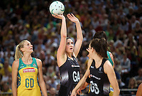 09.10.2016 Silver Ferns Te Paea Selby-Rickit in action during the Silver Ferns v Australia netball test match played at Qudos Bank Arena in Sydney. Mandatory Photo Credit ©Michael Bradley.