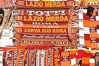 Roma 26 Maggio 2013.Le bandiere e i gagdet della A.S. Roma   davanti allo stadio Olimpico .Italy Cup final, The flags and the gagdets of the A.S. Rome   the Olimpic Stadium