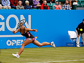 June 12th 2017,  Nottingham, England; WTA Aegon Nottingham Open Tennis Tournament day 3; Qualifier Jana Fett of Croatia at full stretch to hit a forehand against  Mona Barthel of Germany; Fett won 6-3 5-7 7-5 Fett saved 3 match points before winning