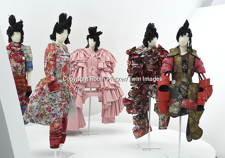 The Garments at the Press Preview of Rei Kawakubo/Comme des Garcons: Art of the In-Between exhibit at The Costume Institute at the Metropolitan Museum of Art on May 1, 2017 in New York, New York, USA. <br /> <br /> photo by Robin Platzer/Twin Images<br />  <br /> phone number 212-935-0770