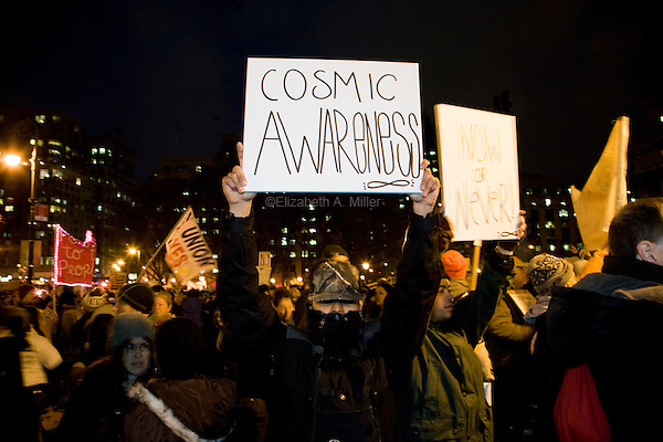 """Students, workers, and other supporters gather at Foley Square to demonstrate continued solidarity with the Occupy Wall Street movement on its two month anniversary, which the movement has dubbed its """"Day of Action"""" in New York City, New York on 17 November 2011."""