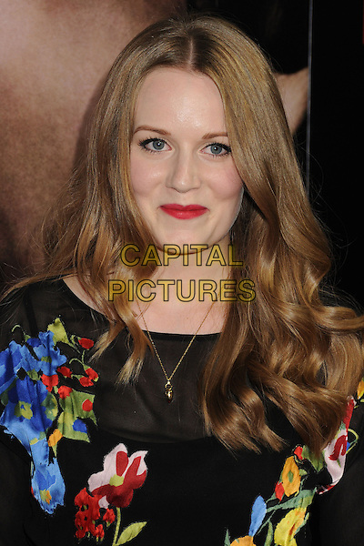 Cara Theobold<br /> &quot;Romeo &amp; Juliet&quot; Los Angeles Premiere held at Arclight Cinemas, Hollywood, California, USA.<br /> September 24th, 2013<br /> headshot portrait blue yellow black red lipstick pattern print floral <br /> CAP/ADM/BP<br /> &copy;Byron Purvis/AdMedia/Capital Pictures