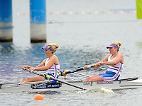 Brandenburg, GERMANY,  BW2-, Repechage, GBR BW2-,  Bow Emily TAYLOR and Hannah ELSY,  2008 FISA U23 World Rowing Championships, Friday, 18/07/2008, [Mandatory credit: Peter Spurrier Intersport Images]..... Rowing Course: Brandenburg, Havel Rowing Course, Brandenburg, GERMANY